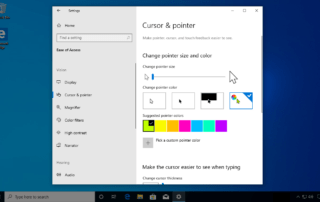 The Ease of Access Cursor settings page in Windows 10