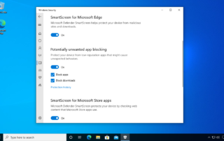 The Potentially unwanted app blocking section in the Windows Security settings page