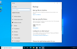 Windows 10 backup settings