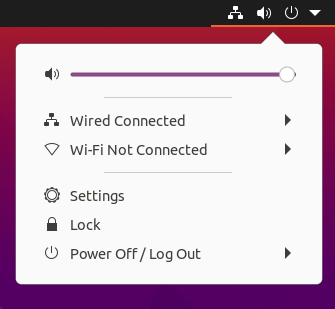 The System Menu, showing volume control, network status, screen locking and power options.