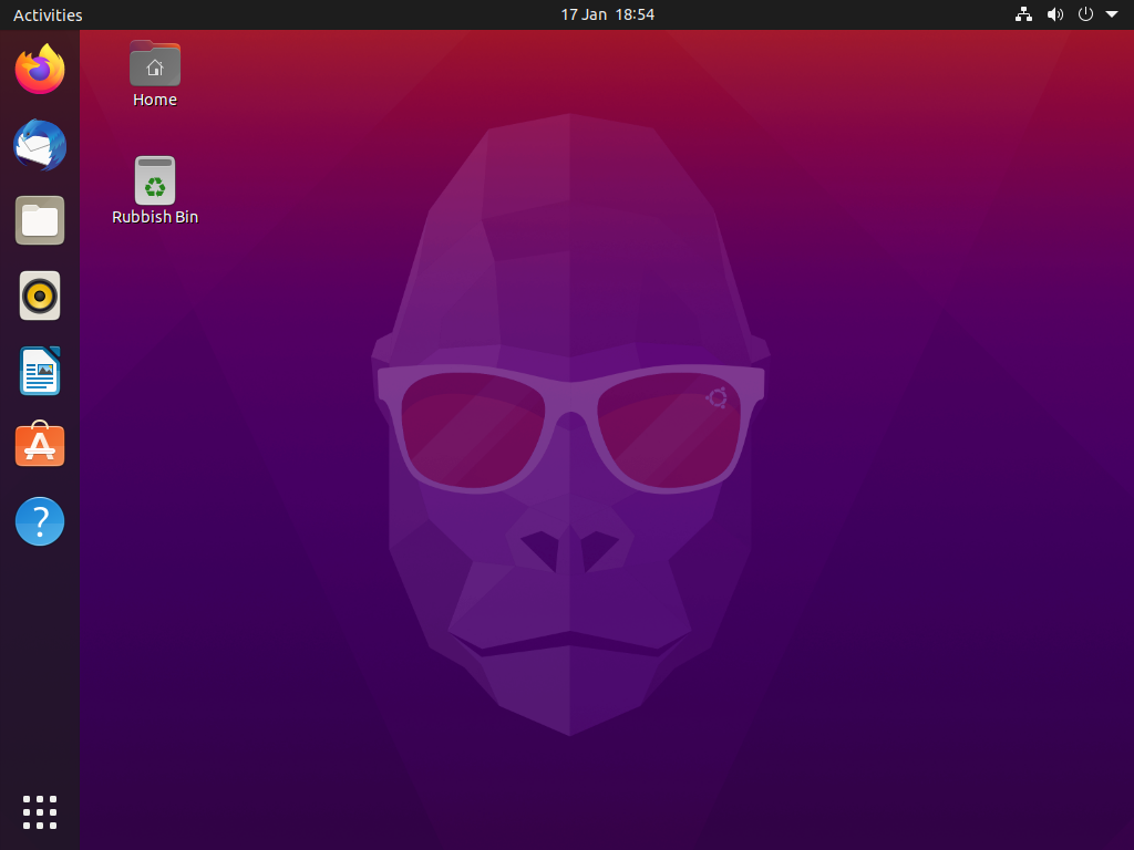 The Ubuntu desktop screen. It shows the desktop background and some app icons along the lefthand side.